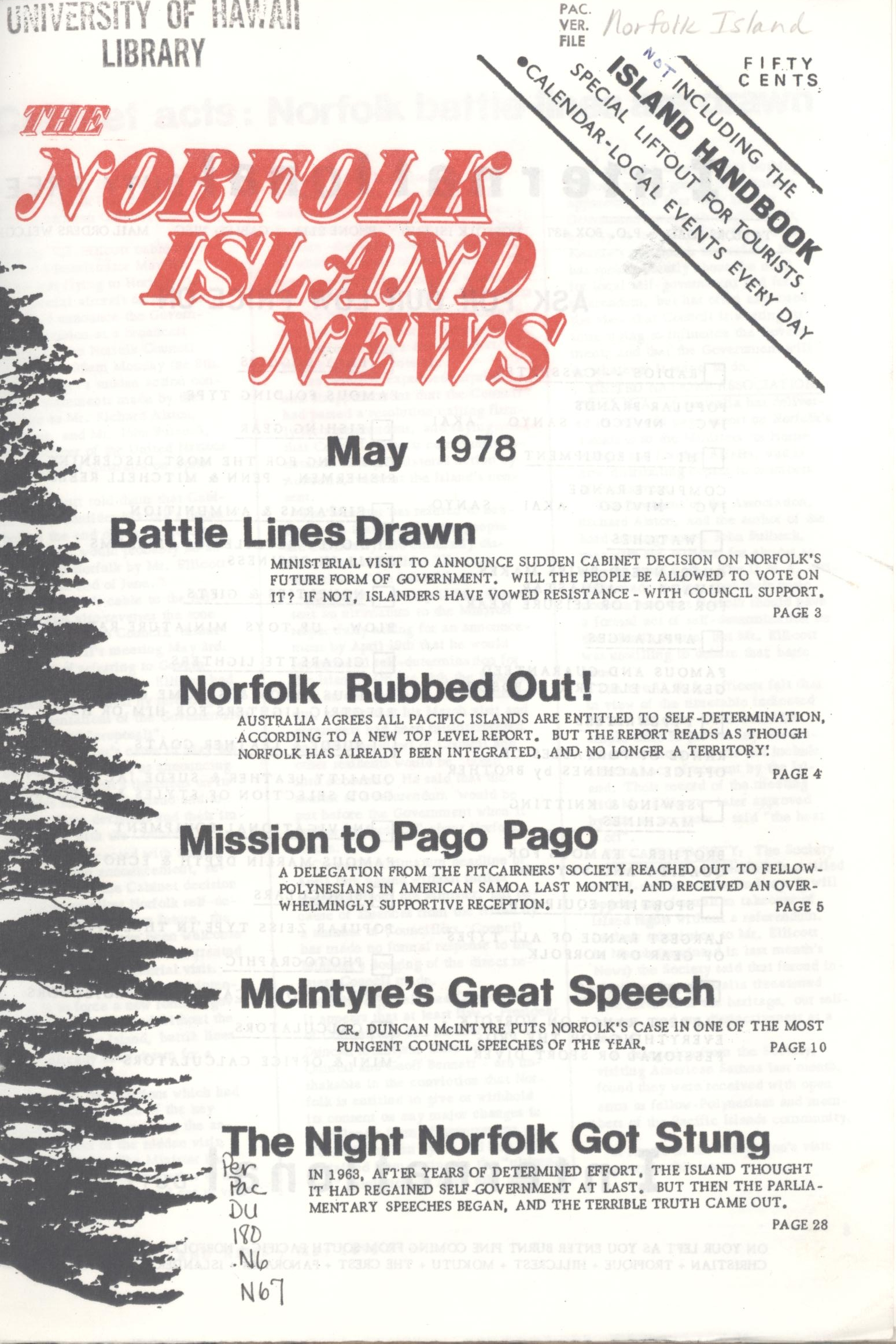 Cover of the 'The Norfolk Island News'