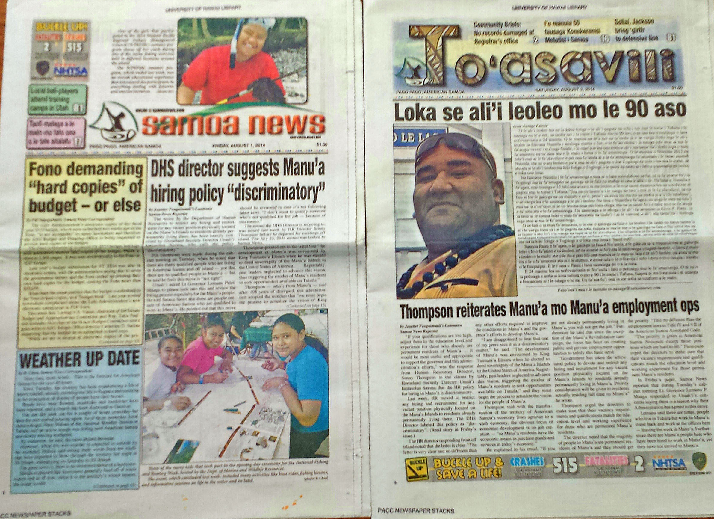 Cover of the 'Samoa News'