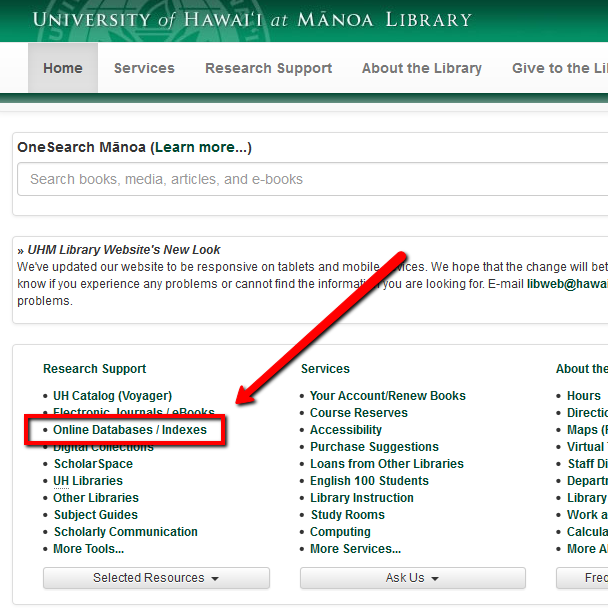Screenshot of main library page