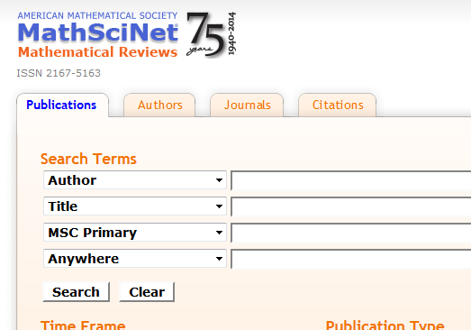 MathSciNet search screen