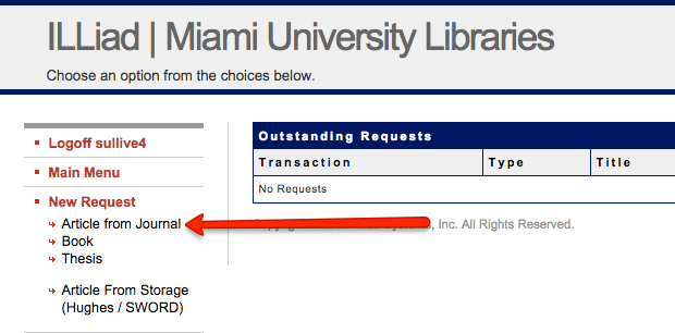 Screenshot of InterLibrary Loan / Storage request interface highlighting links on the left