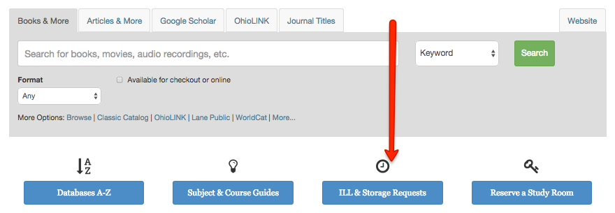 Image highlighting the ILL & Storage Requests button/link on the Library's homepage