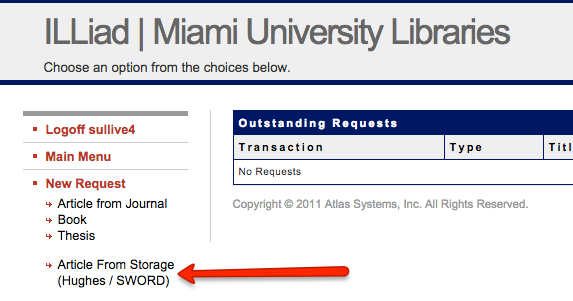 Screenshot of the InterLibrary Loan/Storage request interface with links on the left