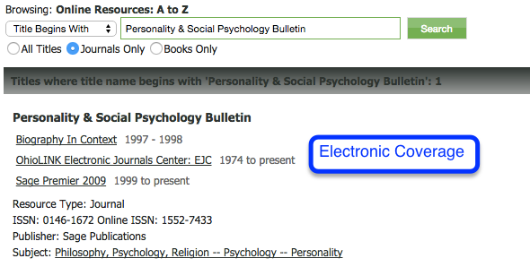 Screenshot of Electronic Coverage when searching a journal title on the e-journals tab