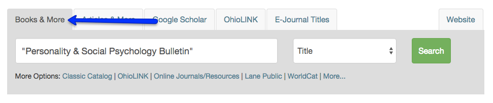 Screenshot of searching journal title on Books & More tab of Library's homepage
