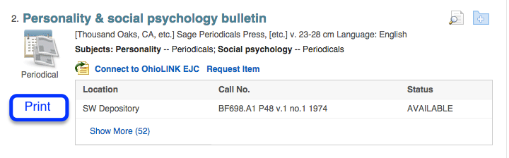 Screenshot of print journal search result in catalog search