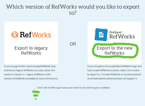 Which version of RefWorks would you like to export to?