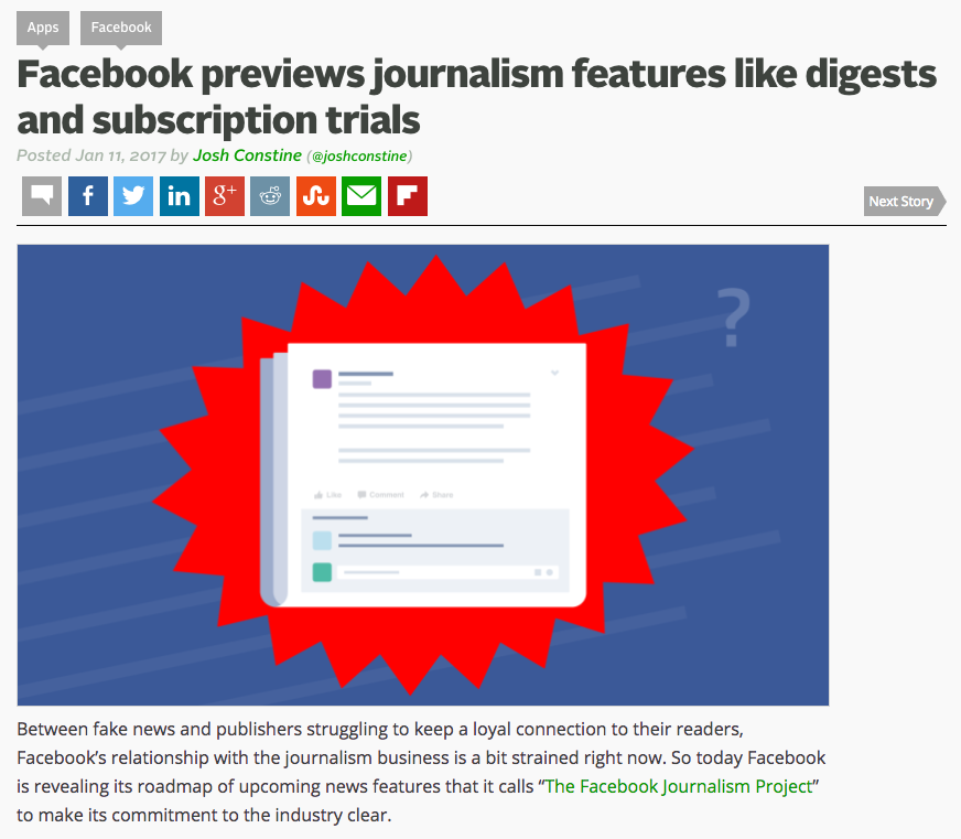 Facebook previews journalism features like digests and subscription trials
