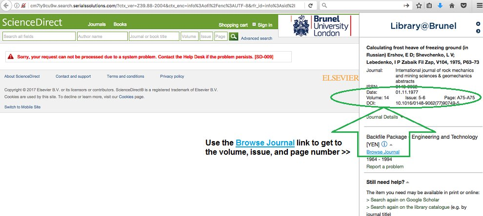 Broken OpenURL link from Library Search to the article at ScienceDirect