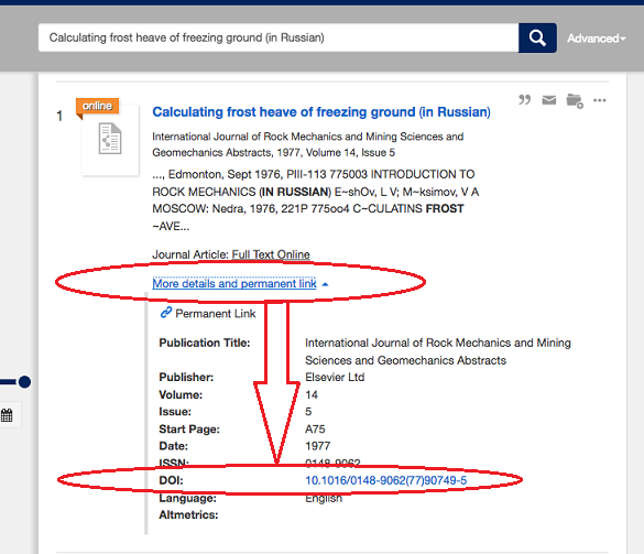 How to use the DOI on Library Search to link to the article on ScienceDirect