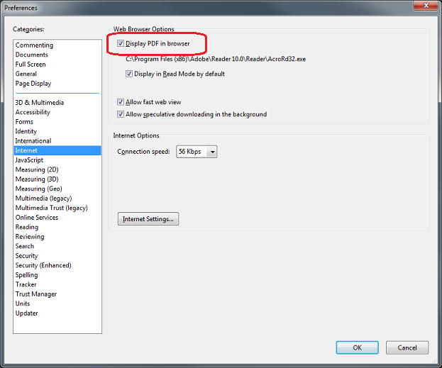How to change Adobe Reader X's Internet browser preference