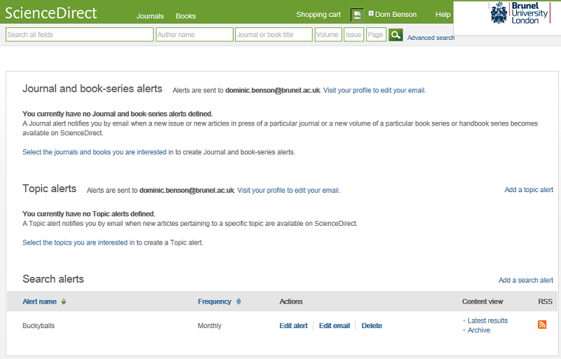 Personal alerts on ScienceDirect