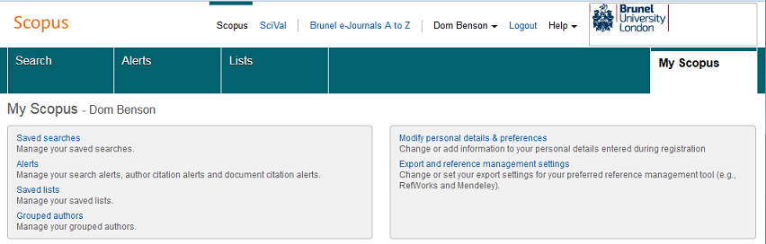 Personal features on Scopus