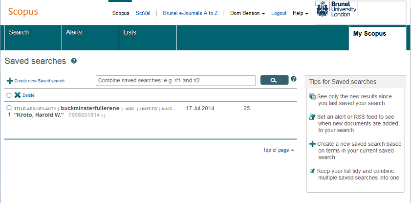 Scopus - saved searches