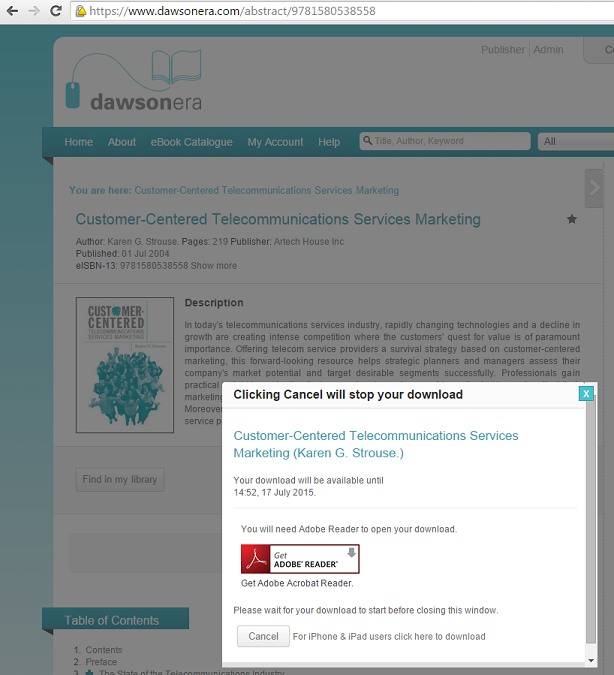 Download screen for a Dawsonera ebook
