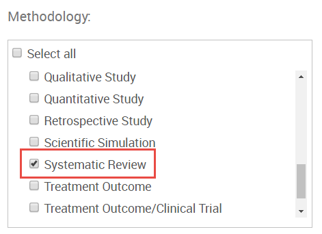 screenshot of systematic review methodology limit option in PsycINFO