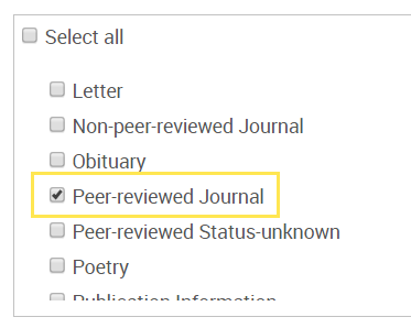 screenshot of limit for peer-reviewed journal in PsycINFO