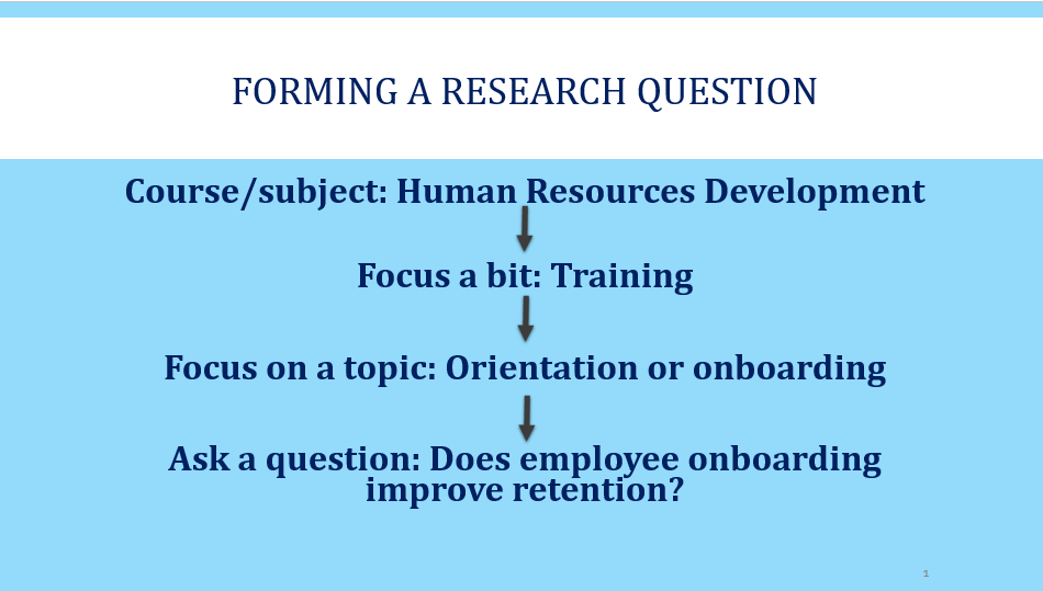 Form a research question for human resources development by focusing on one aspect, training for example, and then focus on a topic like employee orientation and its effect on retention