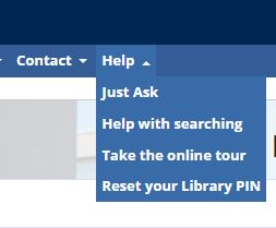 Screen shot of the Help tab on the library website, showing the options available - Just Ask, Help with searching, Take the online tour and Reset your Library PIN