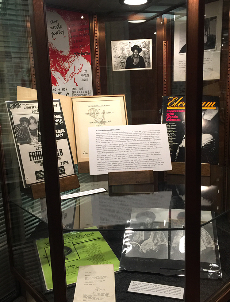 Photograph of Wanda Coleman Flash Exhibit case