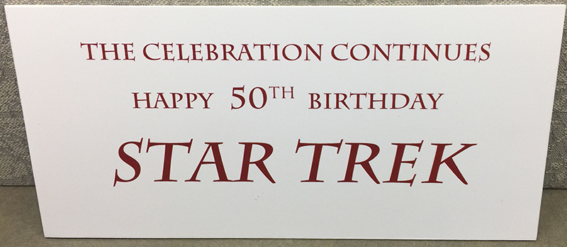 Image of Star Trek caption for the flash exhibit titled 'The Celebration Continues - Happy 50th Birthday, Star Trek'