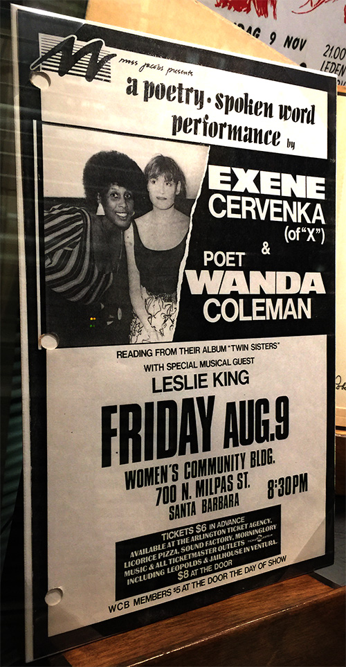 Photograph of flyer of poetry performance featuring Wanda Coleman and Exene Cervenka