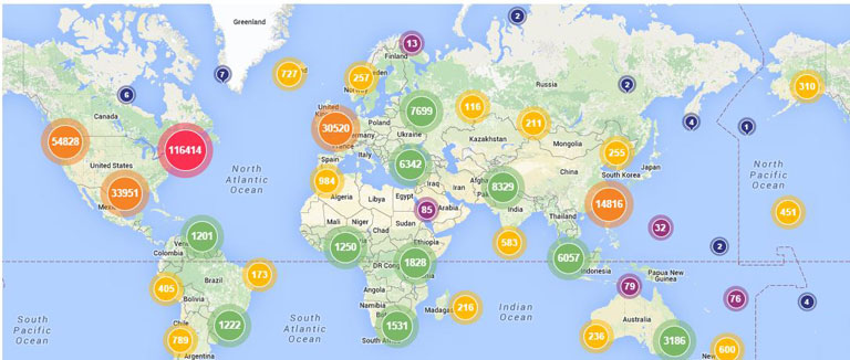 Readership Distribution Map