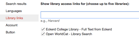 View of Library links page within Google Scholar