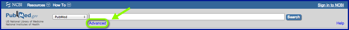 PubMed Search box showing Advanced Link