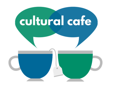 Two coffee cups with two speech bubbles above with the text Cultural Cafe over the bubbles