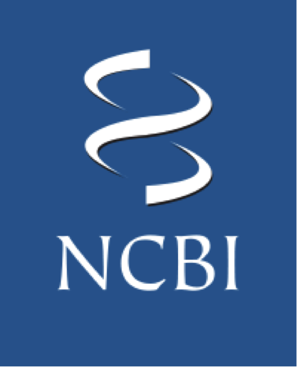 Image of NCBI logo - blue background with white symbol of dna double helix and the letters N C B I in white