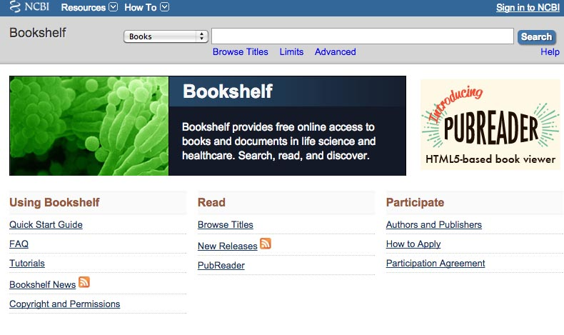 NLM Bookshelf home page screenshot