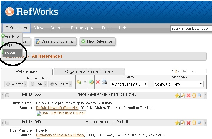 Export Citations from Refworks Step 1