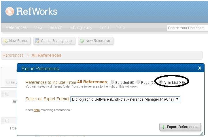 Export Citations from Refworks Step 2