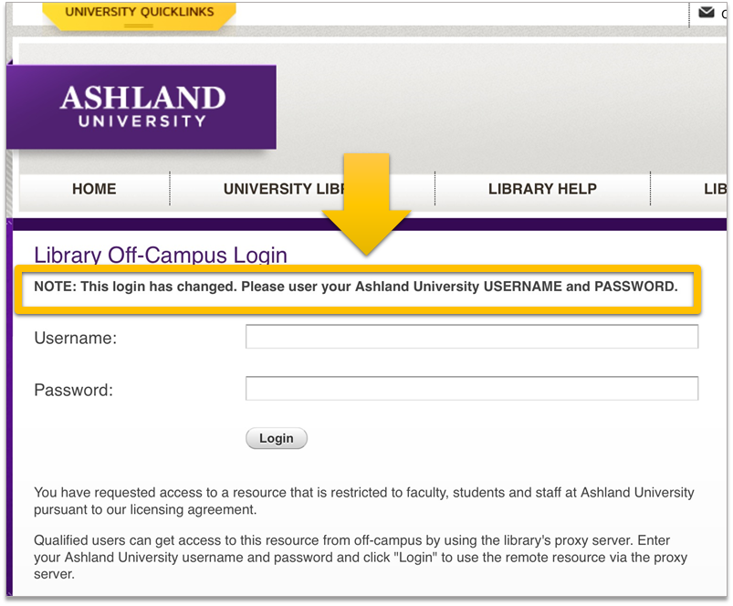 Off campus login