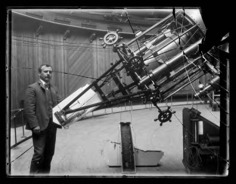 "36-inch refractor, the ""Great Lick Refractor"": view with H. D. Curtis and the Mills spectrograph"