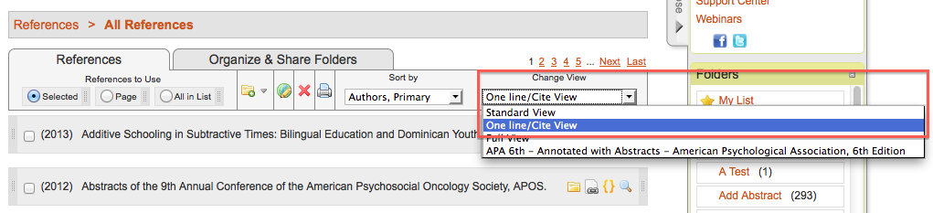 Screenshot of One Line/Cite View