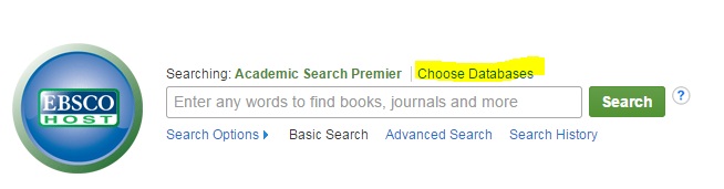 Choose Databases link is above the search bar