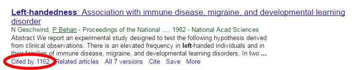 "Google scholar results entries have a ""cited by"" link that lead you to other articles that have used that source."