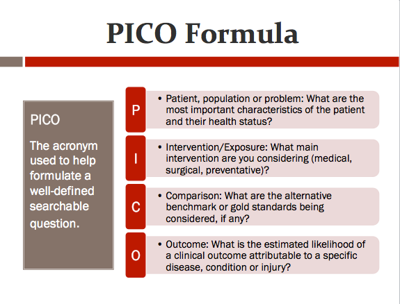 evidence based practice picot question related to nursing Background ➢ question ➢pico ➢ frameworks➢ locate evidence 4  allee n  evidence-based public health: finding and appraising relevant resources   available from:     formulating the evidence based practice question: a review of the frameworks.