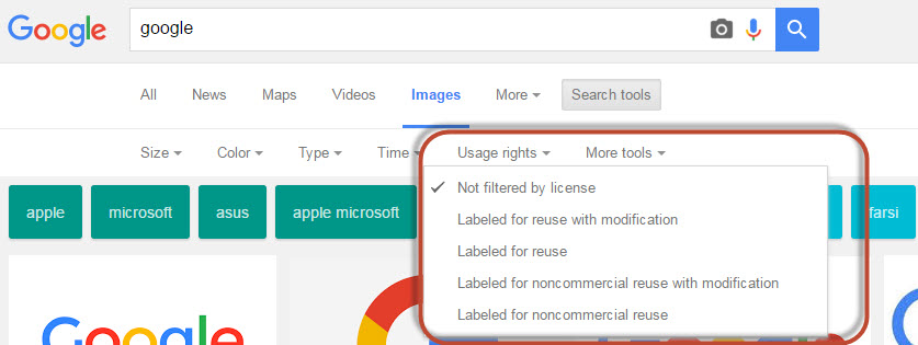 google images search filter by usage rights