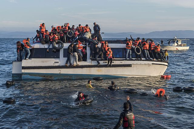Syrian and Iraqi refugees arriving at Lesvos, Greece