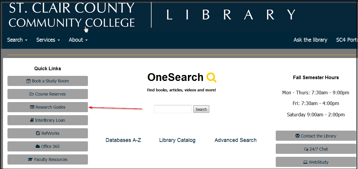 library home page, research guide location