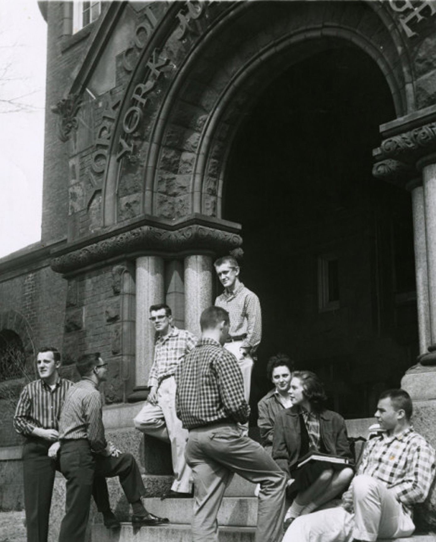Students on steps