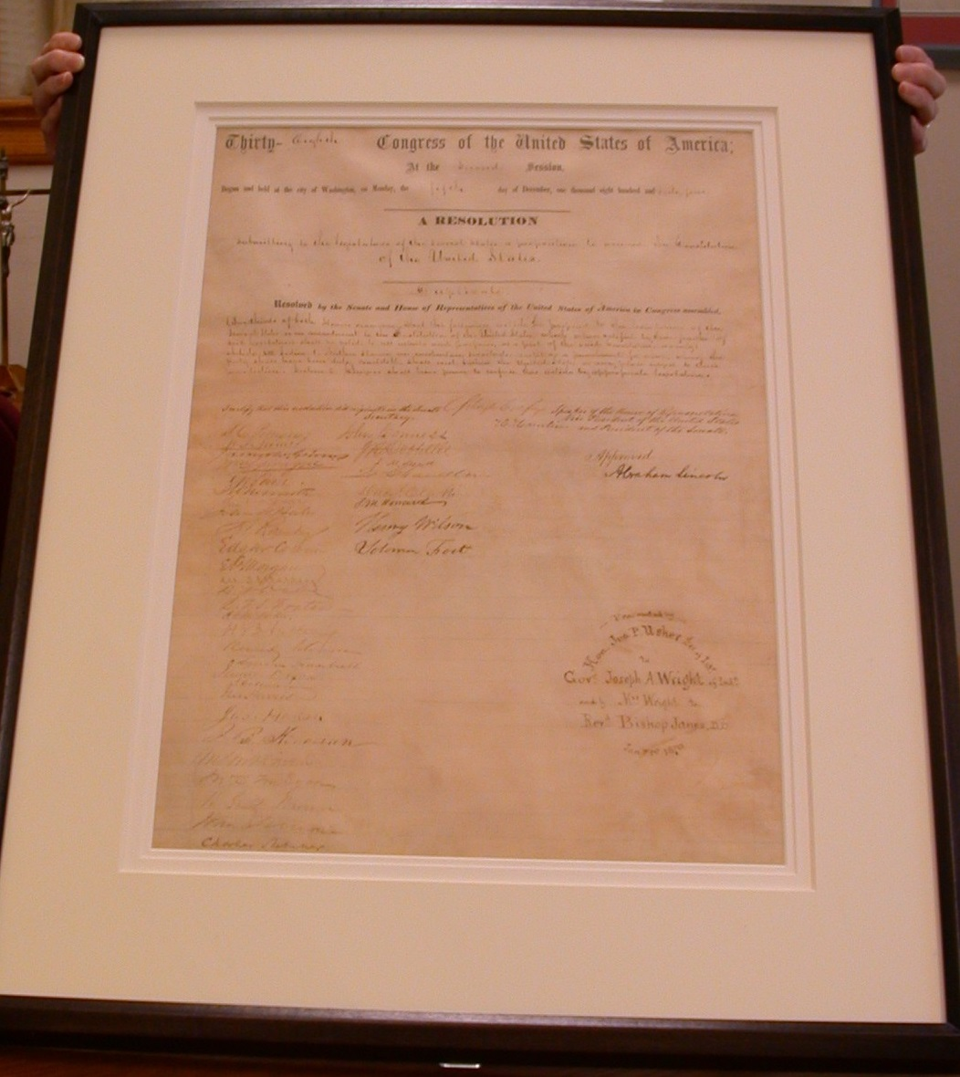 The University of Saint Mary's copy of The Thirteenth Amendment to the United States Constitution
