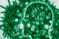 artistic depiction of neuro pathways with side view of head filled with green neuro pathways that extent to area surrounding the head