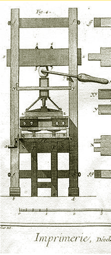 An image of a common press from Diderot.