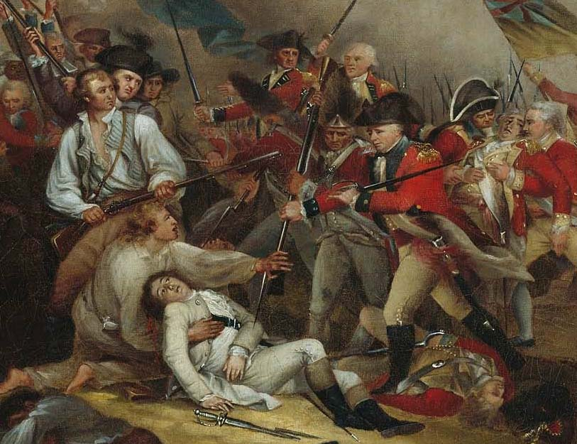 Painting depicting the battle of Bunker Hill