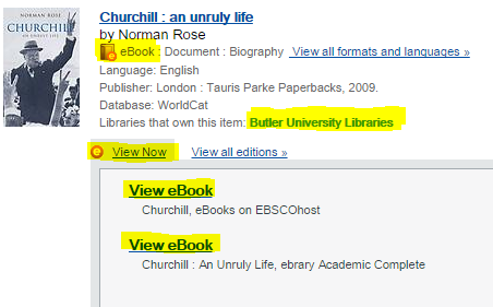 Screenshot of Churchill ebook result in WorldCat Discovery