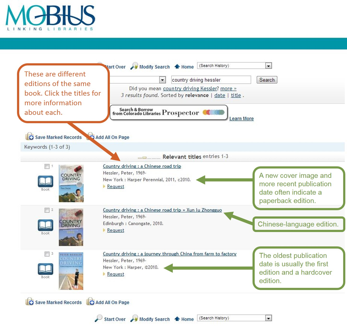 An image showing the search results page for MOBIUS, with arrows indicating the paperback and hardcover editions.